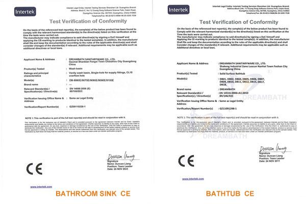 Bathroom Sink & Bathtub CE Certification